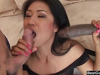BestGonzo - Tiny Lyla Lei stretched by a pair of big cocks