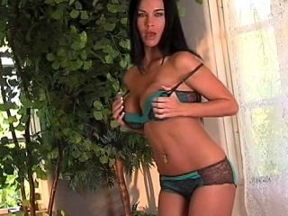 Great brunette Laura Lee demonstrates her pussy