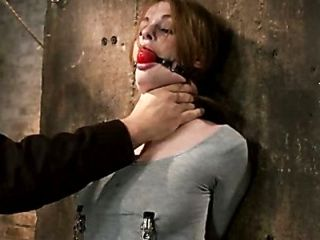 Redhead with cute freckles bound tightly & made to cum! Big puffy nipples clamped & weighted (2)