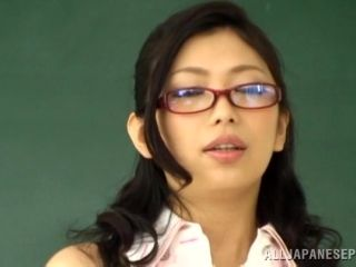 Gorgeous Asian porn star with glasses enjoying a hardcore MMF threesome