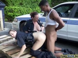 Interracial outdoor threesome fucking with hot cops and BBC!