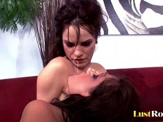 Guy With Red Latex Gloves Makes A Brunette's Pussy Dripping Wet