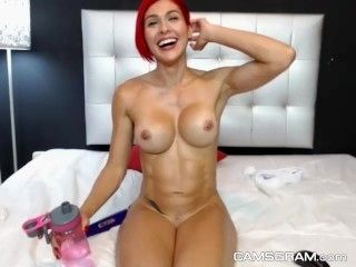 Hot Big Tits Athletic Camgirl Enjoys Her Solo Time