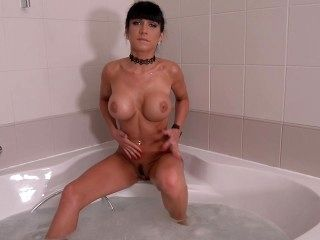 image Sudsy snatch belgian beauty masturbates in the tub