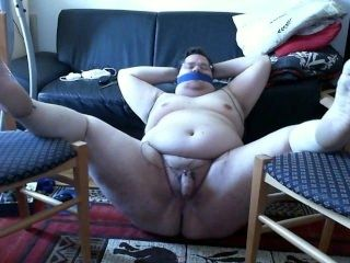 Webcam Solo Naughty Fat Pig electro torture cock & milking orgasm