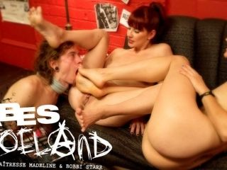 Fabulous fetish porn scene with crazy pornstars Maitresse Madeline Marlowe, Bobbi Starr and Owen Gray from Footworship