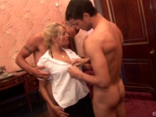 Lucky Blonde Finds Herself In The Company Of Two Big Boners