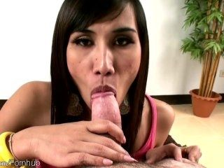 Small dicked Thai ladyboy ends up with cum on tits after POV (3)