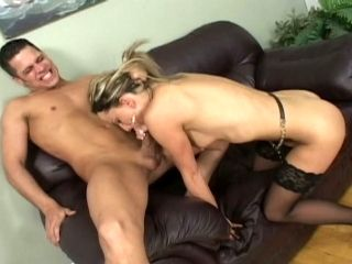 Perverted chick Dahlia wearing sexy stocking gets laid on a couch