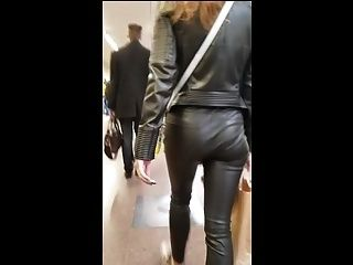 Girl's Ass In Leather Pants