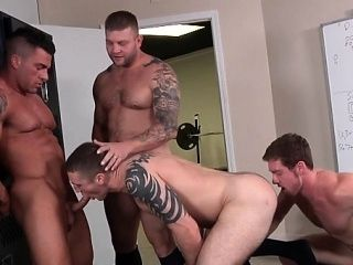 Naked Hunks In Scenes Of Group-Sex With Irrumation And Anal