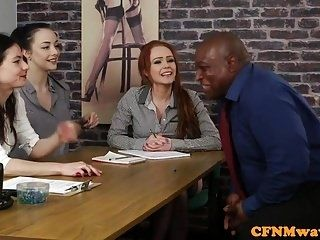 CFNM femdoms tugging sub in interracial group (5)