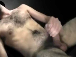 Horny Guy Wich Full Bush Jerking Off And Cum