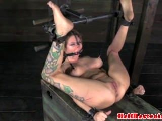 BDSM sub toyed with legs spread apart (7)
