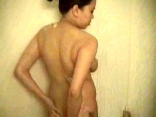Hot Homemade Asian Pregnant Chick Takes A Shower