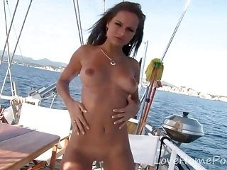 Brunette Bombshell Shows Off On The Boat (7)