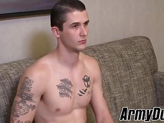 Gorgeous soldier Phillip Fox jerking his big long fat cock (2)