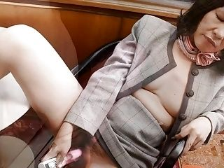 Japanese Granny Fucks Herself with Dildos