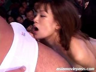 Crowd public blowjob