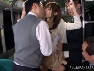 A slutty Japanese exhibitionist loves to fuck on public busses