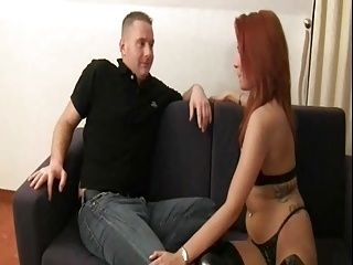 Redhead in Boots gets fuckd on the couch and the floor