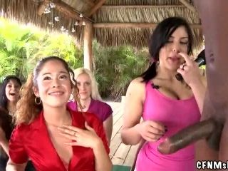 Kinky CFNM Yoga Lessons with Lots of Girls and Two Big Cocks