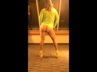 MILF stripteasing and shaking ass in lace lingerie and stripper heels