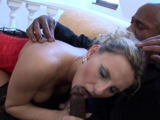 Sexy blonde Patricia is riding on the black cock
