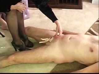 Cock Beetween Pantyhosed Legs While Spanked