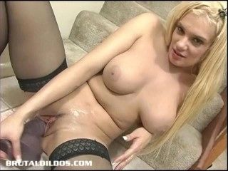 Busty Blonde In Thigh Highs Loving A Big Brutal Dildo (3)