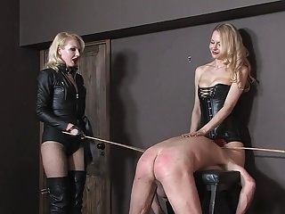 Two Blonde Mistresses Whipping Male Slave 01