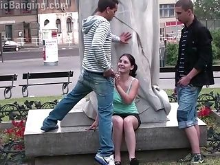 PUBLIC street gangbang threesome with a cute teen girl