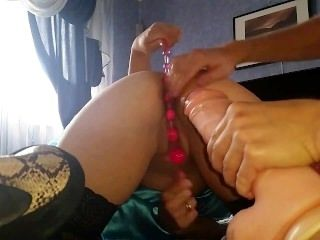 Giant Dildo And Toys In Big Russian Ass