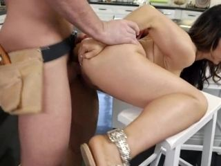 Brunette Bends Ass For Plumber With Huge Dick