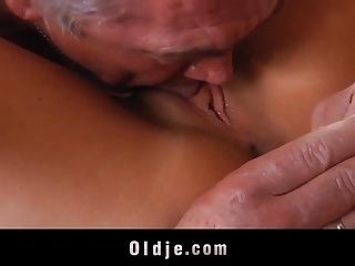 French Teen Deepthroats Grandpa And Gets Pussy Licked