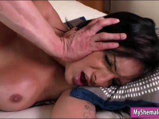 Huge Boobs Shemale Gets Her Anal Fucked Bareback On The Bed (2)