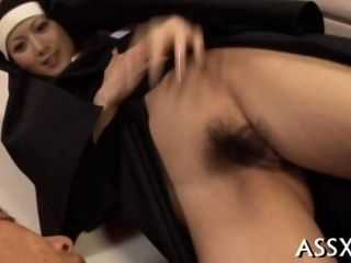Unshaved Asian nun cunt goes wild with