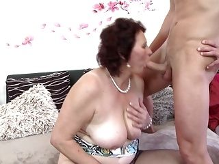 Busty Mother Suck And Fuck Young Lucky Son (2)
