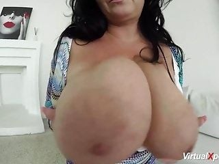 Milf Busty Reny shows her gigantic boobs at the camera (6)
