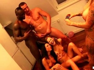 Horny European Brunettes Get Fucked In an Interracial Group Sex Party