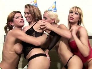 Latina Tgirls Party Around And Squirt Cum On Shemale Boobs (2)
