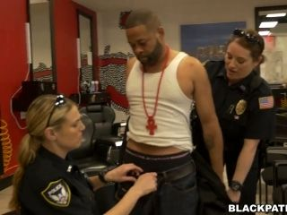 Two Sex-Hungry Bitches In Cop Uniform Fuck One Arrested Black Stud