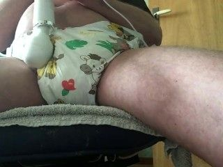 Diaper And Magic Wand With Cumshot
