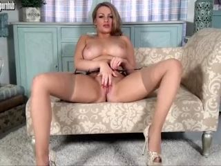 Pretty all natural blonde Penny Lee shows it all off teasing in tan nylons (2)