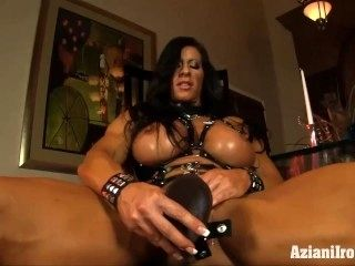 Huge Muscular Chick Takes The Huge Black Dildo (2)