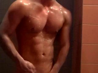 Ripped Guy In Gym Showers
