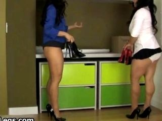 Two Curvy Offices Ladies Flaunt Their Silky Legs