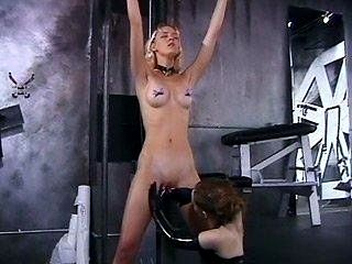 Hot Blonde Is Tied To The Ceiling