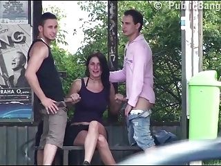 Pretty girl with big tits PUBLIC highway gangbang threesome