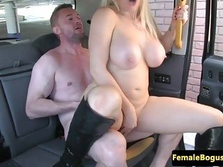 Female British Cabbie Cockrides Her Passenger (3)